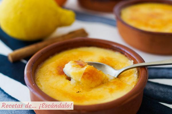 Receta tradicional de crema catalana con su azucar quemada