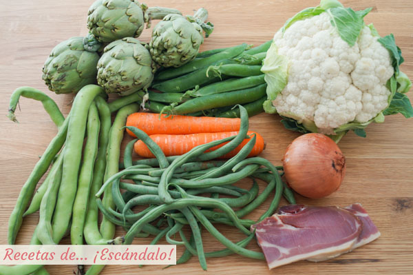 Ingredientes menestra de verduras con jamon