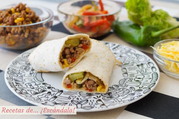 Receta de burritos mexicanos con carne picada y frijoles