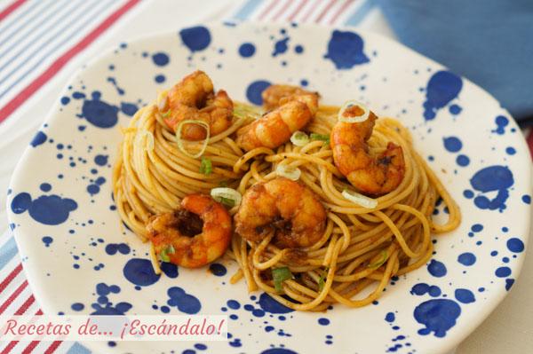 Receta de espaguetis con gambas paso a paso