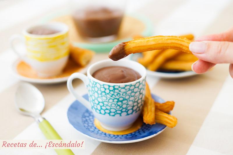 Churros con chocolate a la taza. Receta casera