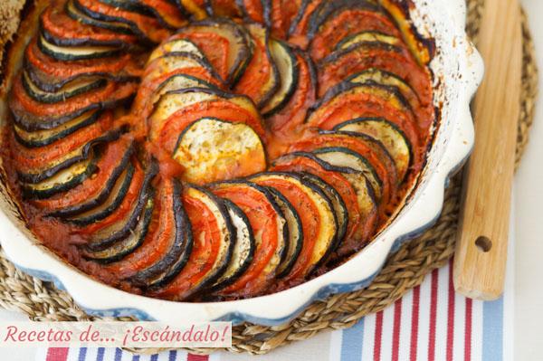Receta de ratatouille de la pelicula. Deliciosas verduras al horno