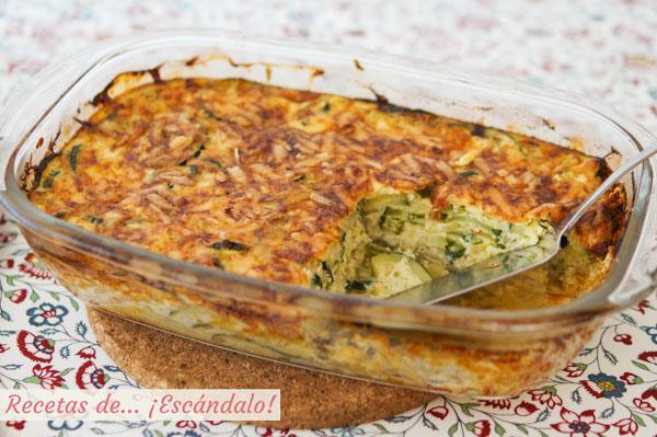 Receta facil de pastel de calabacin al horno con queso gratinado