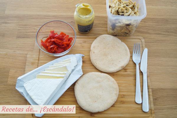 Ingredientes para el bocadillo de pollo desmechado