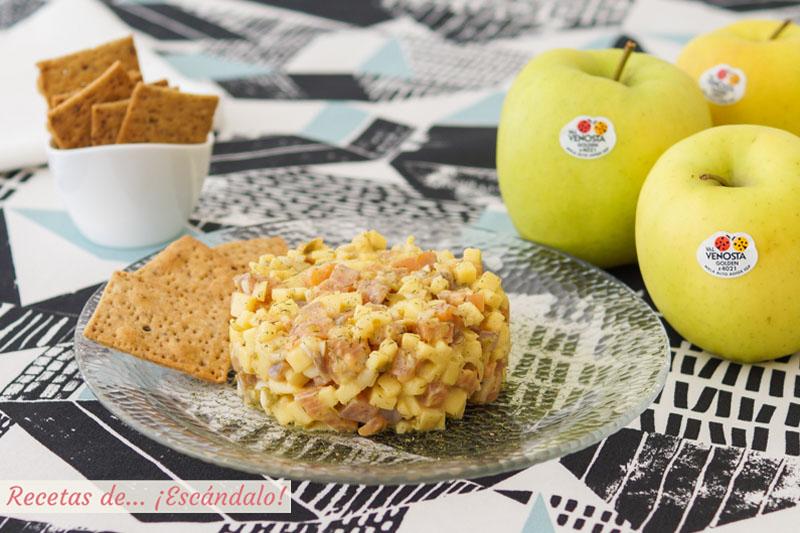 Tartar de salmón y manzana a la mostaza, un aperitivo delicioso