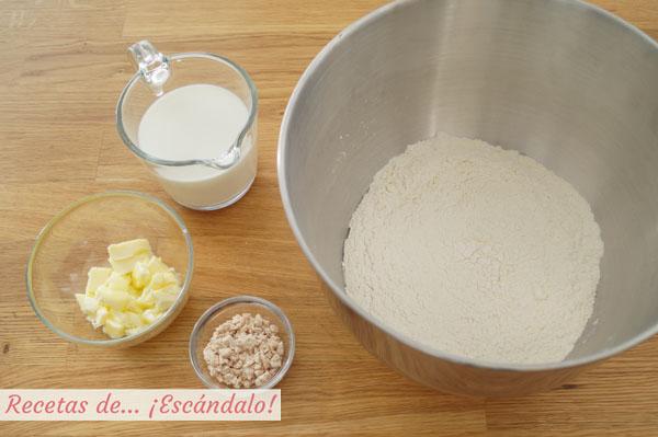 Ingredientes para pan casero para torrijas