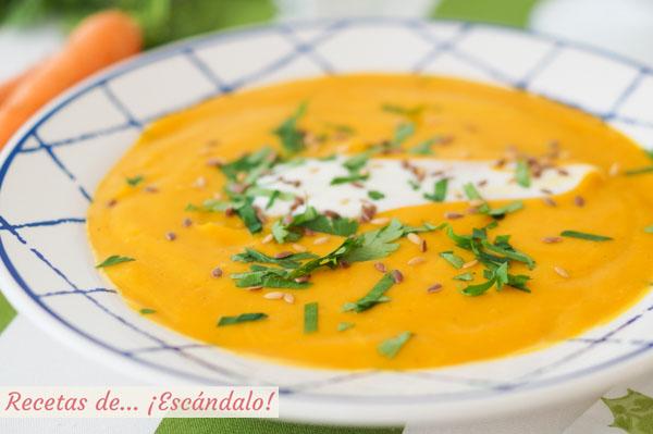 Receta de crema de zanahoria, muy facil y cremosa