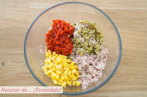 Ingredientes para pastel frio de atun