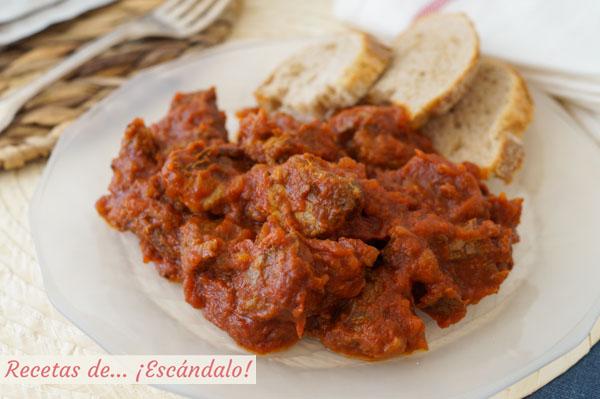Receta de carne con tomate andaluza, muy facil y rica