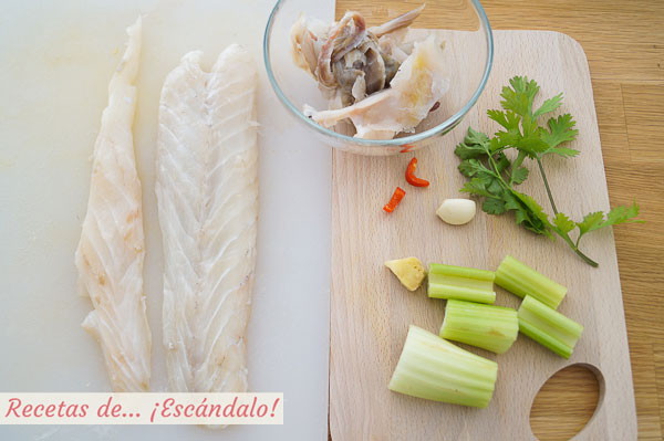 Corvina e ingredientes leche de tigre