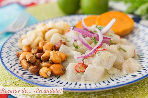 Receta de ceviche peruano de corvina con leche de tigre, muy facil y rico