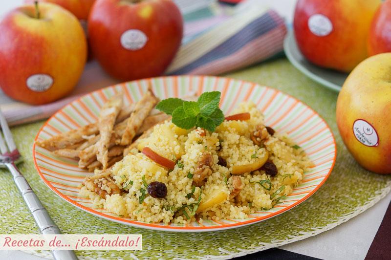 Cuscus con manzana, hierbabuena y pechuga de pollo a la plancha