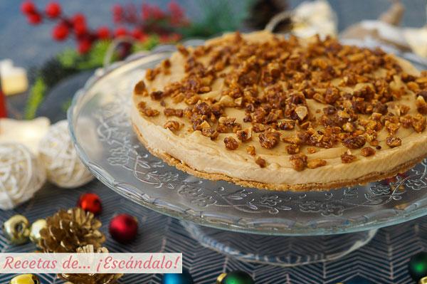Receta de tarta de turron blando sin horno y con cuajada. Postre navideno