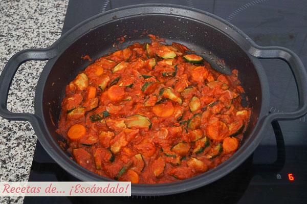 Sofrito para potaje de garbanzos con verduras