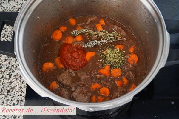 Ingredientes ragu de ternera