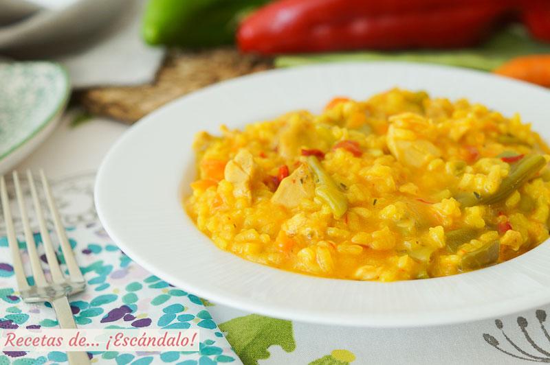 Arroz caldoso con pollo y verduras en Thermomix, la receta mas sabrosa