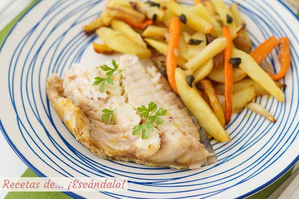 Como hacer mero al horno con patatas, zanahorias y chalotas
