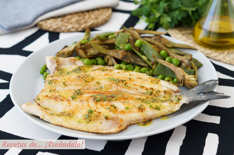 Lubina a la plancha con alino de mostaza y guarnicion de verduras