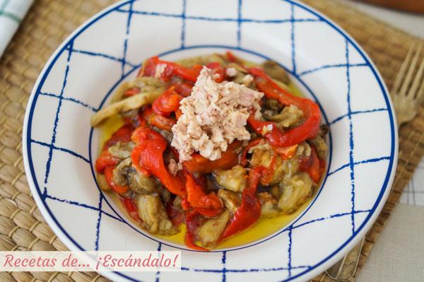 Receta de escalivada de verduras al horno con atun y vinagreta dulce