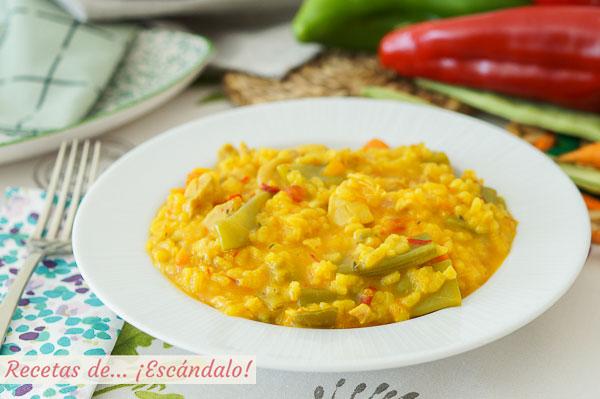 Receta muy sabrosa de arroz caldoso con pollo y verduras en Thermomix
