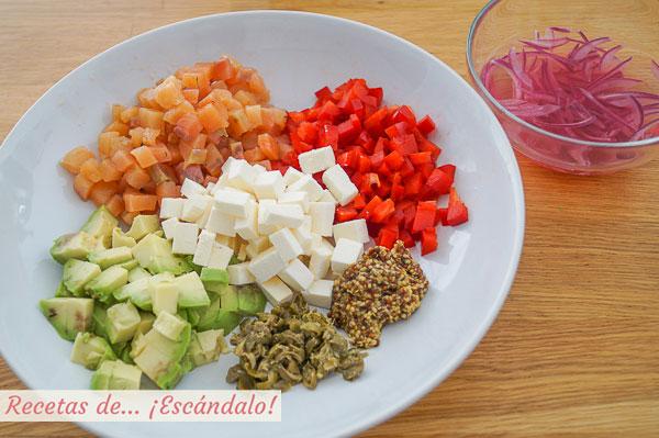 Ingredientes ensalada de lentejas con salmon, aguacate y queso feta