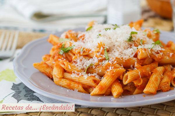 Receta de macarrones con atun y tomate, ricos y faciles