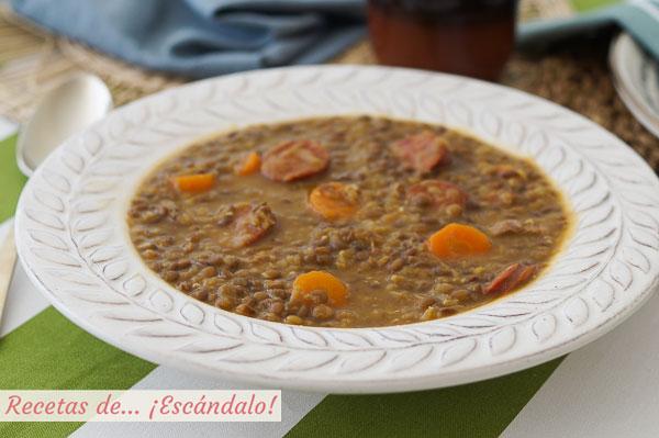 Receta tradicional de lentejas con chorizo y verduras en Thermomix