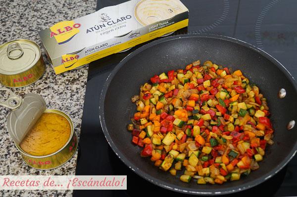 Relleno atun y verduras berenjenas