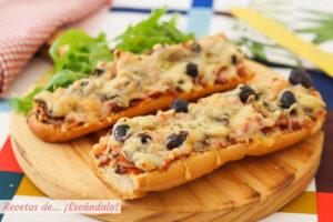 Pan pizza con bacon y champinones, una cena rapida, sencilla y rica