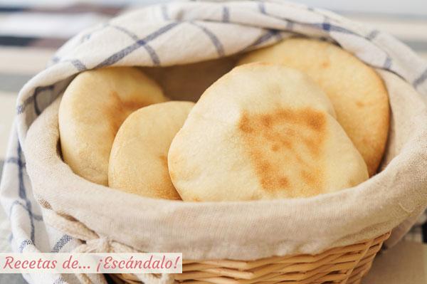 Receta de pan de pita casero o pan arabe, muy sencillo