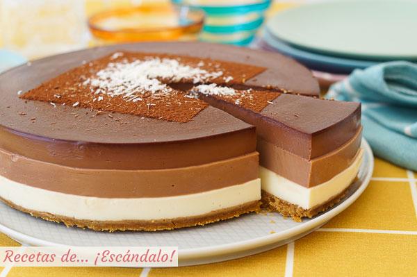 Receta de tarta tres chocolates con Thermomix, facilisima y con un resultado de 10