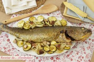 Corvina al horno con verduras y setas y alino de mostaza y alcaparras