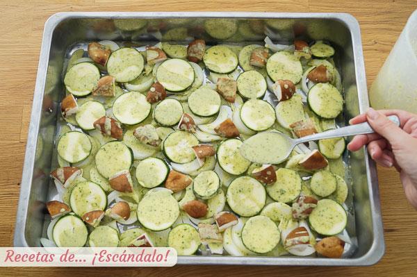 Guarnicion verduras y setas para corvina