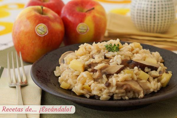 Receta de risotto de setas y manzana, una combinacion deliciosa y diferente